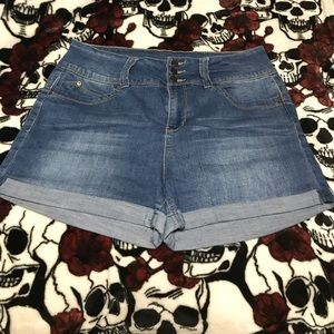 High rise blue jean shorts